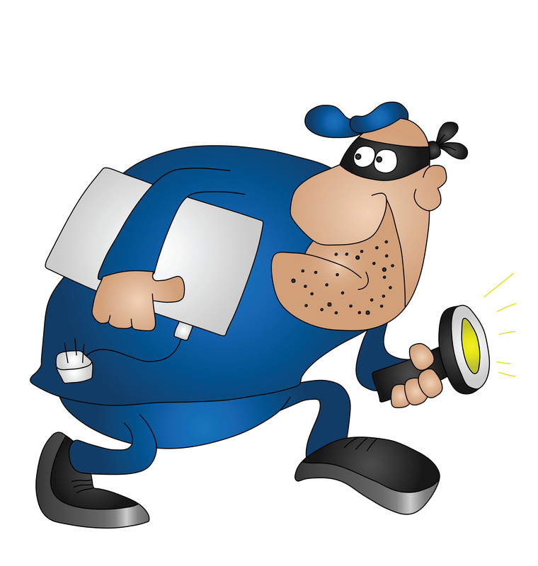 Cartoon of a  bandit with a mask and holding a laptop tucked under his arm and a flashlight in the other hand